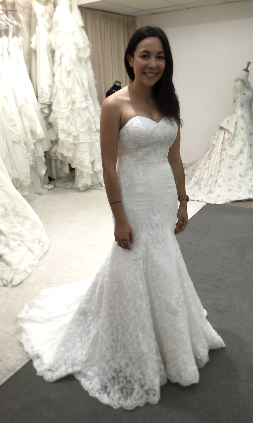 We added extra layer of tulle under the dress for Clare, to create a perfect Mermaid look.