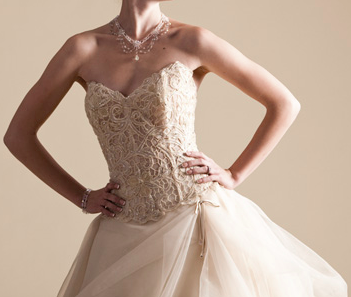 Champagne wedding dress with lace bodice for $580, reduced from $2380.