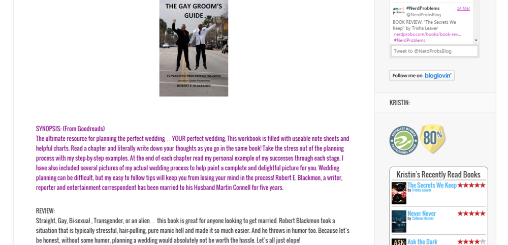 "BOOK REVIEW  ""The Gay Groom's Guide"" by Robert Blackmon    NerdProblems.png"