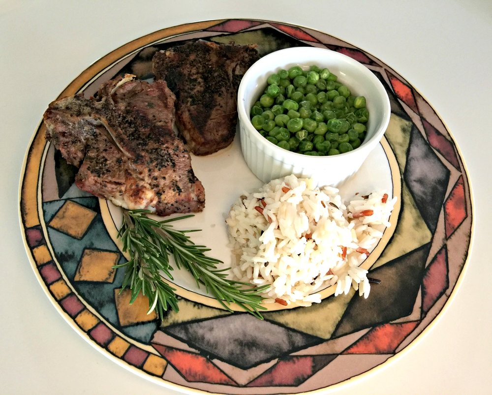Main course – lamb chops, peas and wild rice
