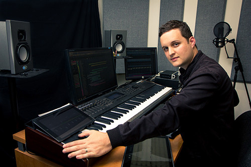 Blake Robinson uses his home studio to compose music for film, TV, and games.