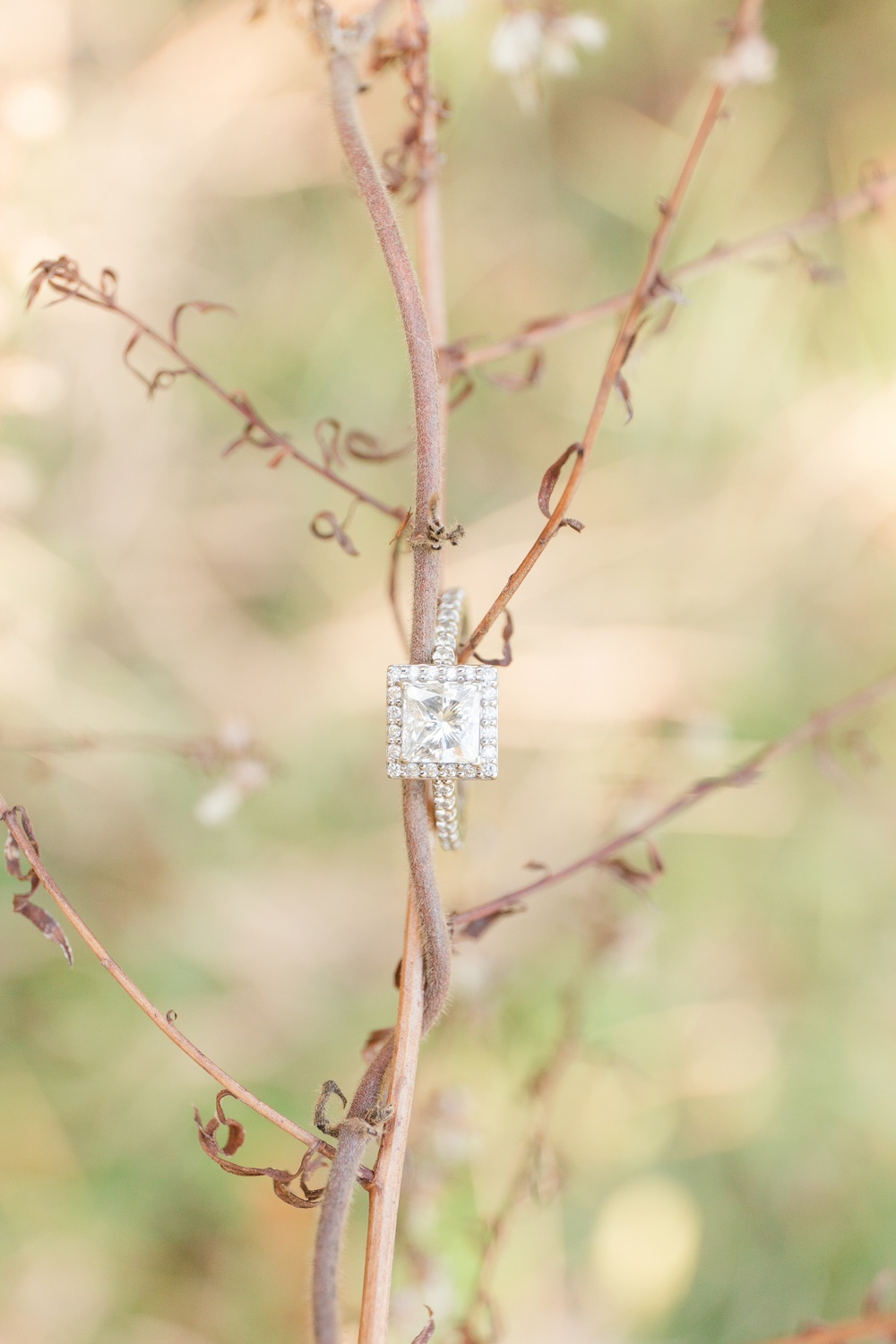 King George County Virginia winter Enagement photos square engagement ring shot by natalie jayne photography