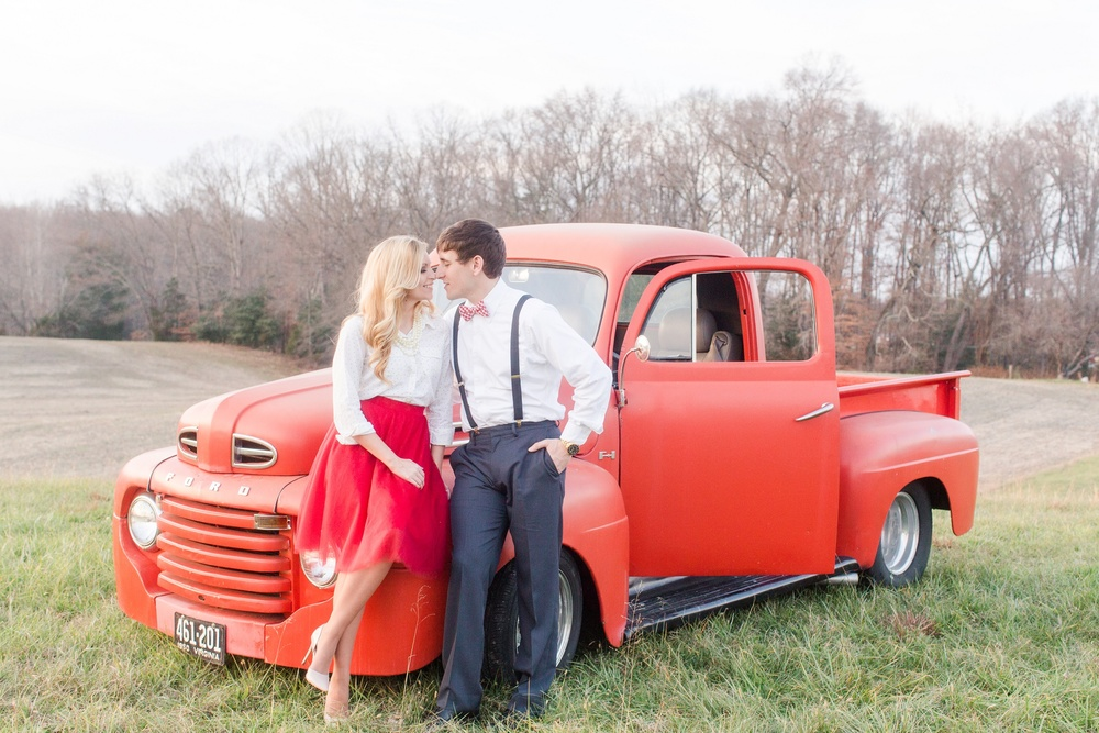 King George County Virginia winter Enagement photos with 1950s red ford truck themed photos by natalie jayne photography