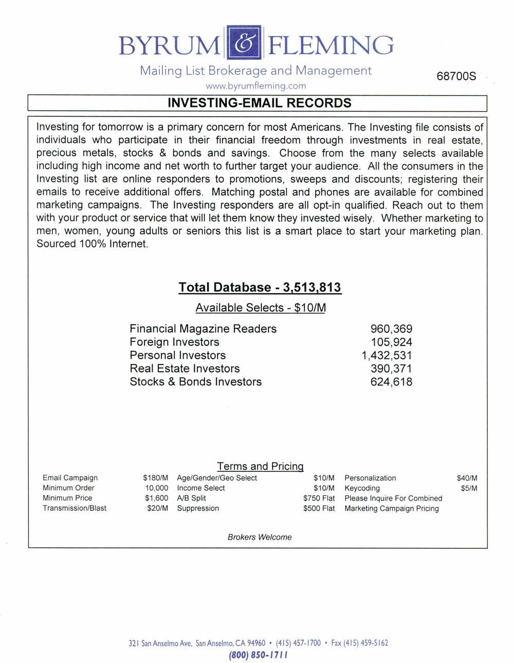 Financial Magazine Readers Foreign Investors Personal Investors Real Estate Investors Stocks & Bonds Investors