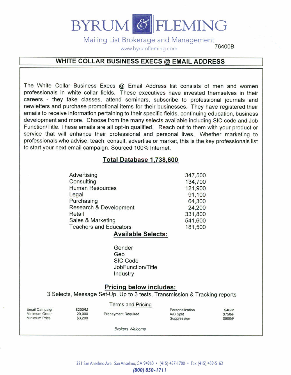 White Collar Business Execs @ Email Address — Byrum