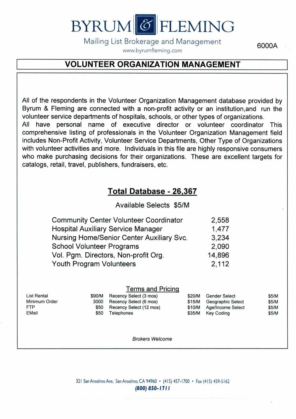 Community Center Volunteer Coordinator Hospital Auxiliary Service Manager Nursing Home Senior Center Auxiliary Svc. School Programs Directors, Non-profit Groups Youth Program