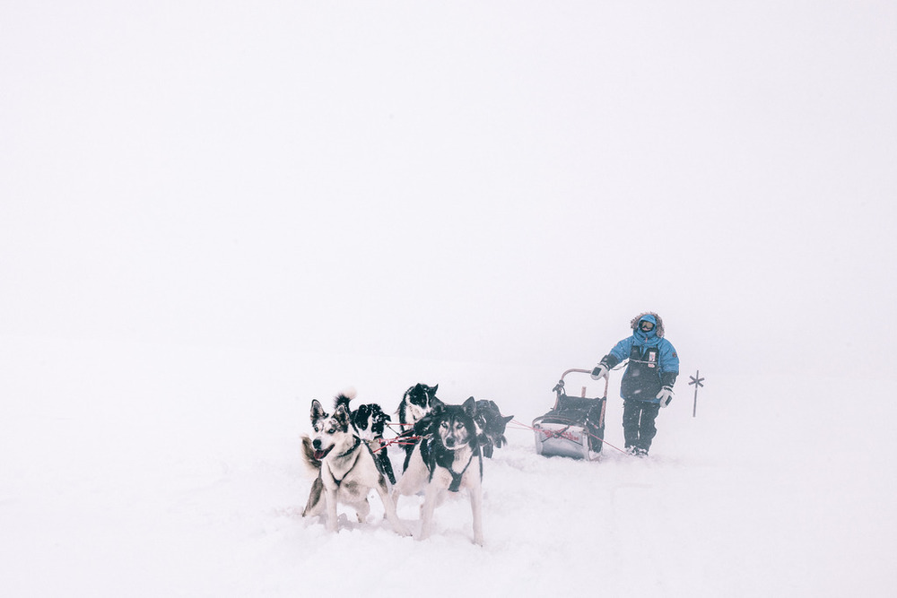 fjallraven polar expedition sled in snow storm