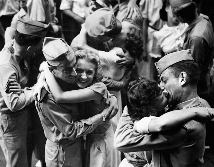 Couples celebrating the end of WWII
