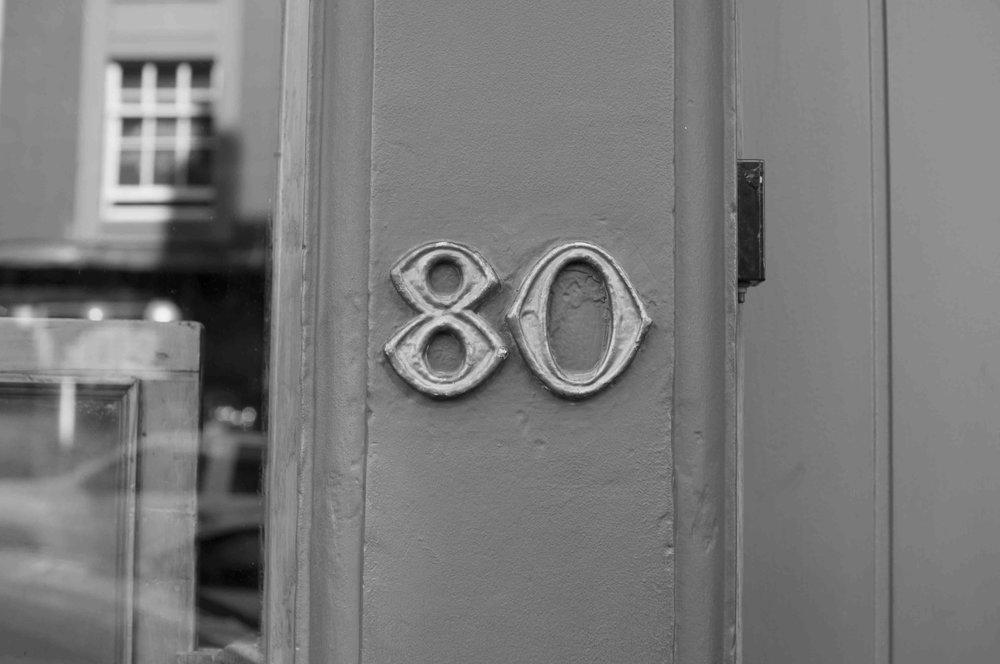 Number 80 Brass Sign