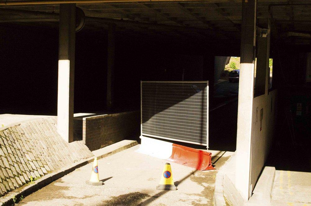Herras Fencing, Traffic Cones and Sunshine and Shadows, Edinburgh Street Scene