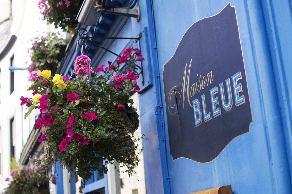Maison Bleue and Hanging Basket Flowers, Edinburgh