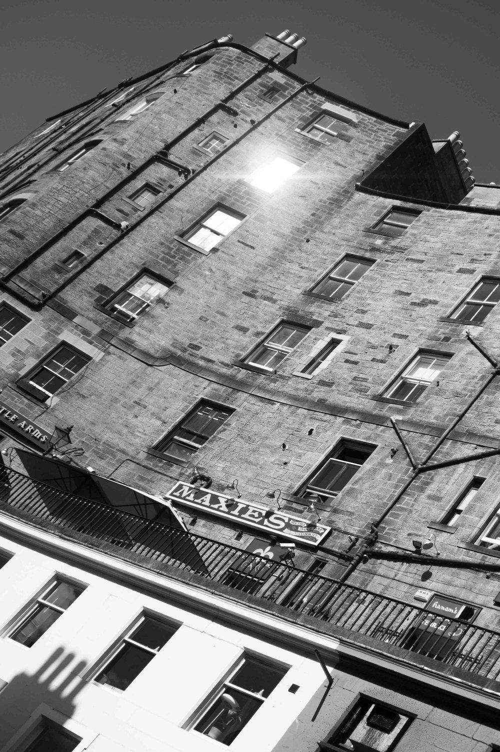 Maxies In The Sunshine, Edinburgh. Black and White