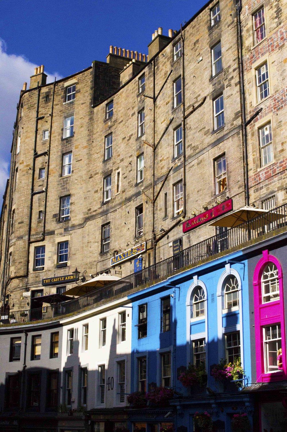 Colourful West Bow, Edinburgh, In The Sunshine