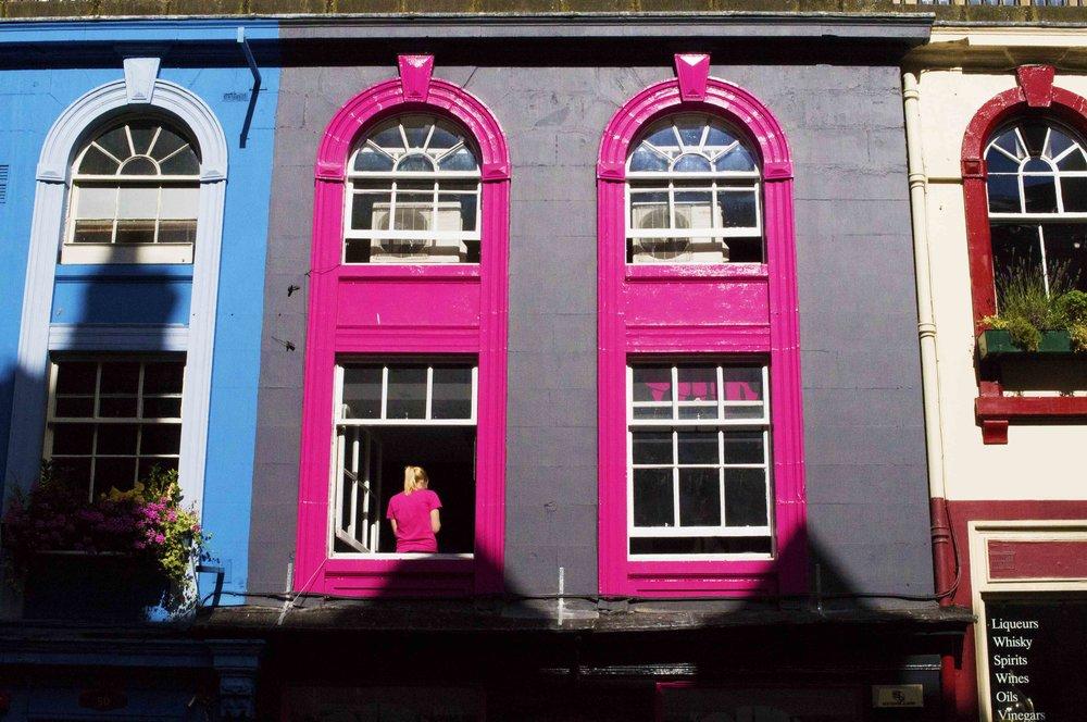 Pink, Grey, Blue, Sky, Cream and Red Window Woman, Edinburgh