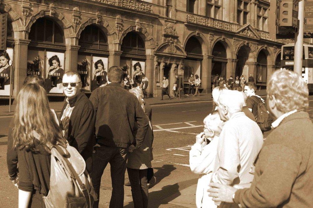 A 2016 Street Scene In Sepia, Edinburgh