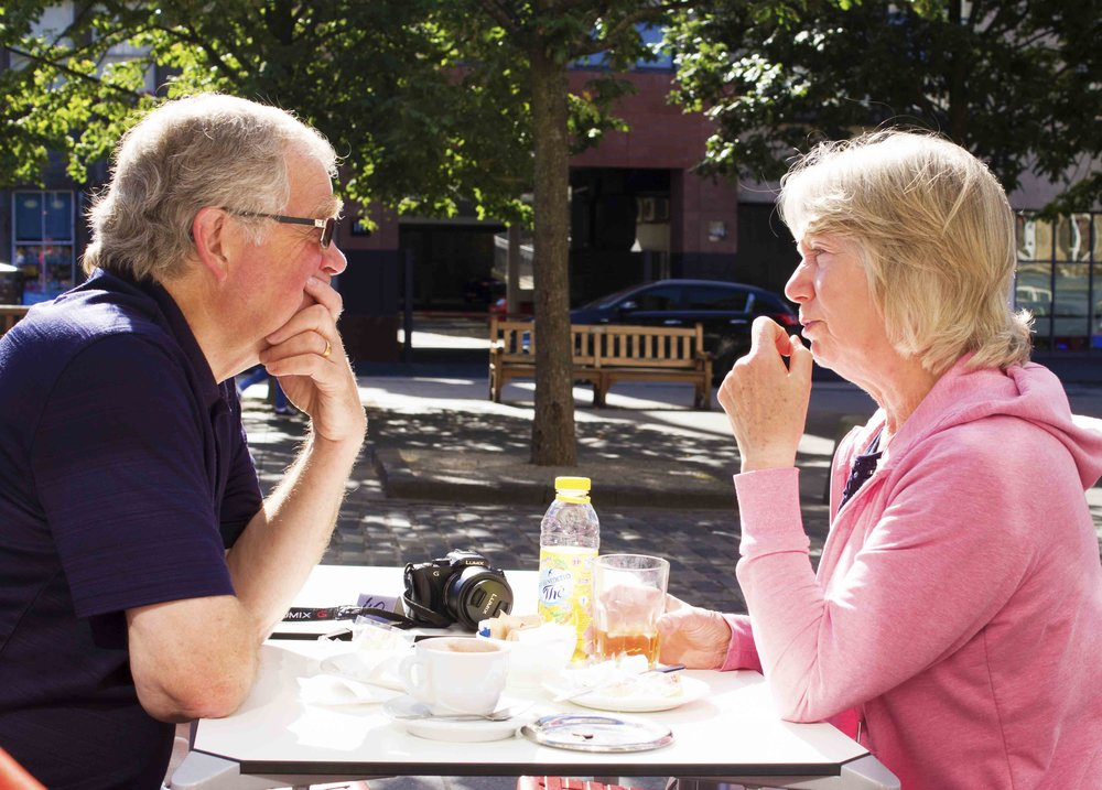 A Balanced Discussion. A Couple Talk In Edinburgh