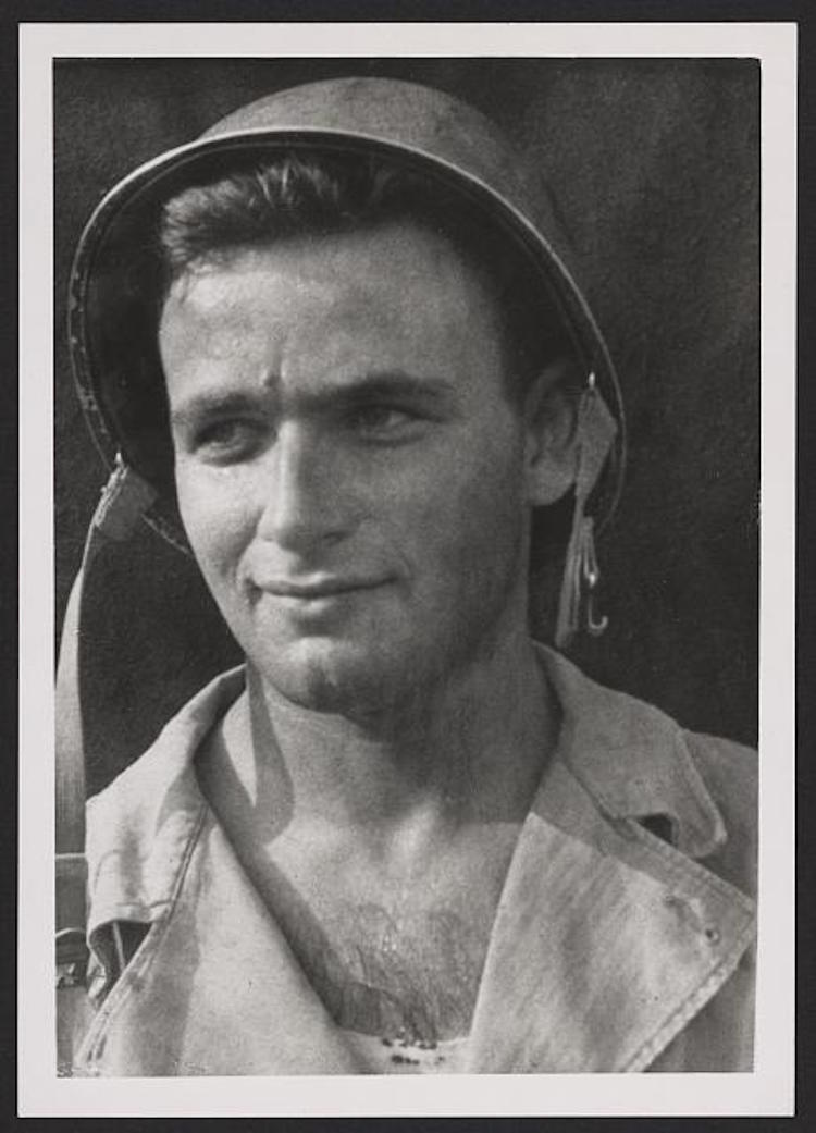 Victory Lundy, now 92 years old, as a young soldier.