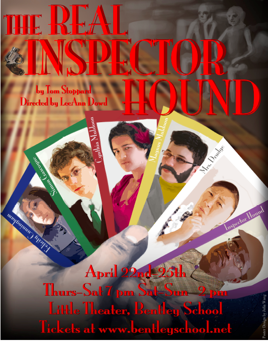 Poster for  The Real Inspector Hound , designed by Julia Wang