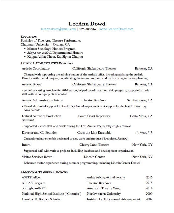 Administrative Resume Leeann Dowd