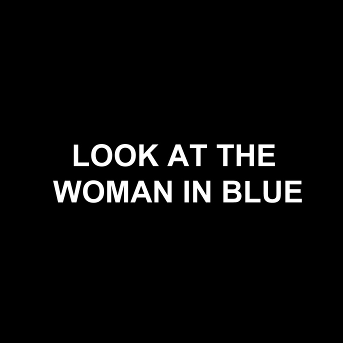 THE WOMAN IN BLUE Cinema piece created for the Lounge Bar, using rolling text and an epic score projected onto a gauze through which you watched the late night bar activity.