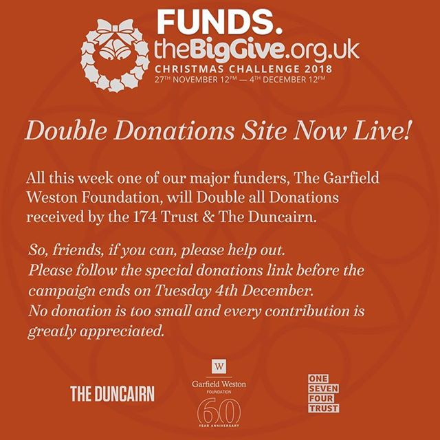 PLEASE CAN YOU HELP US RAISE SOME MUCH NEEDED FUNDS?? All Donations to @theduncairn & 174 trust until 4th December will be Doubled.  Please, if you can afford to contribute anything, all assistance is greatly appreciated.  All money raised will be equally divided across four community project areas. 1. Our Disability support projects for young people, older people, families and carers. 2. Our Arts outreach project working with marginalised members of the community. 3. Community relations, peace and reconcilliation work.4 our education and childcare projects. Visit this link to get started: secure.thebiggive.org.uk/donation/to/67…