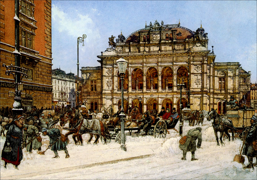 Hofoper im Winter 1917                                            ©Hugo Heikenwälder/commons wikimedia.com