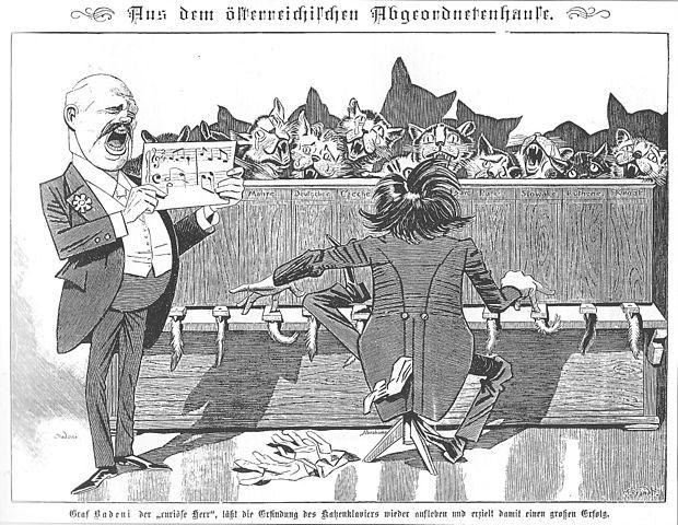 Karrikatur zur Badenikrise 1897  © Gustav Brandt/Kladderatatsch/commons wikimedia.com