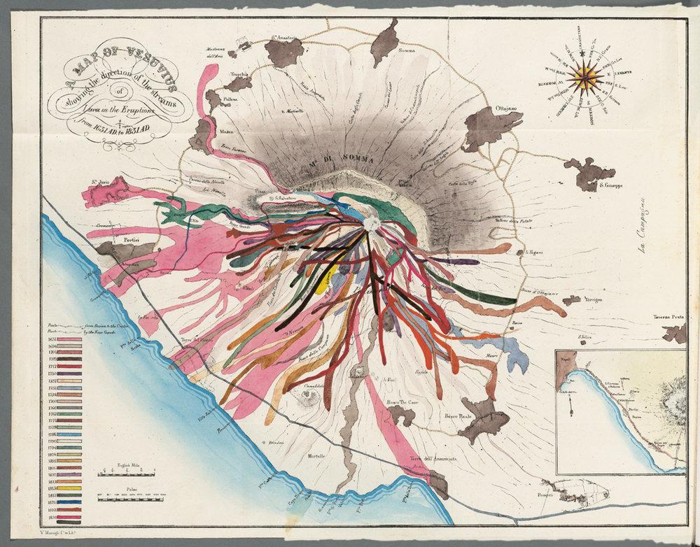 """""""Karte des Vesuv, auf der historisch verbriefte Lavaströme eingezeichnet sind"""" von John Auldjo @ Houghton Library, Harvard University, Cambridge"""