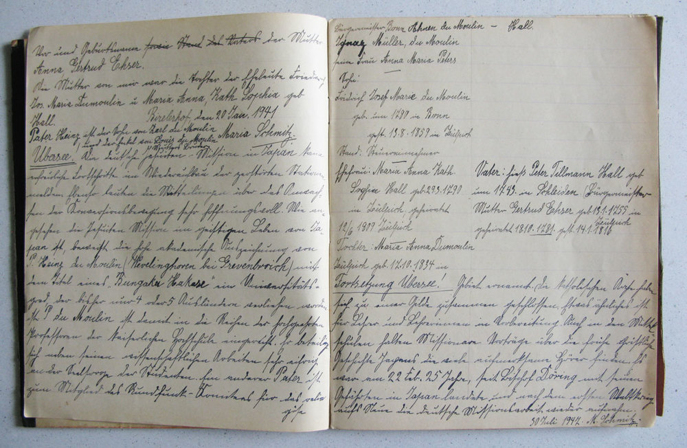 Journal intime. Chronique des familles / Tagebuch. Chronik der Familien Schmitz, du Moulin und de Hall-von Montebroich  © Divers auteurs, droits réservés