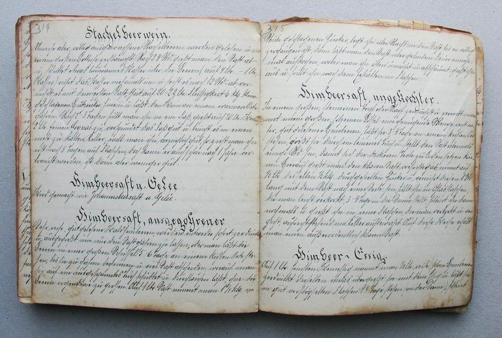 Stachelbeerwein - Himbeersaft u. Gelee - Himbeersaft, ausgegohrener - Himbeersaft, ungekochter © Auteurs inconnus, droits réservés
