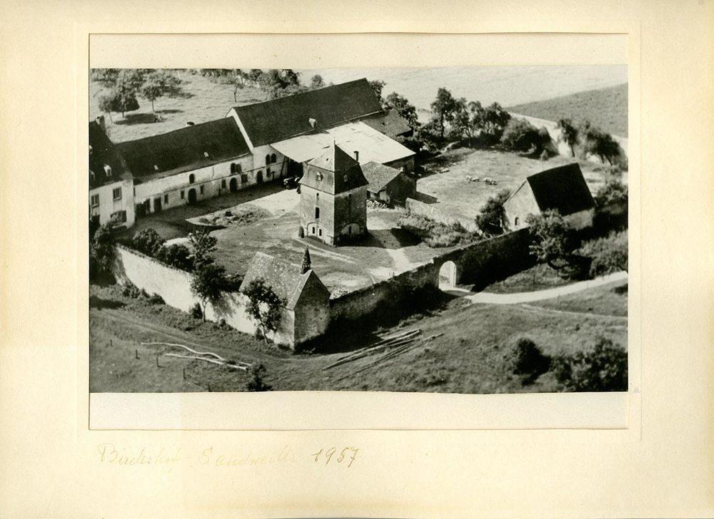 Vue aérienne du Birelerhof / Luftaufnahme vom Birelerhof, 1957 © photographe inconnu, droits réservés