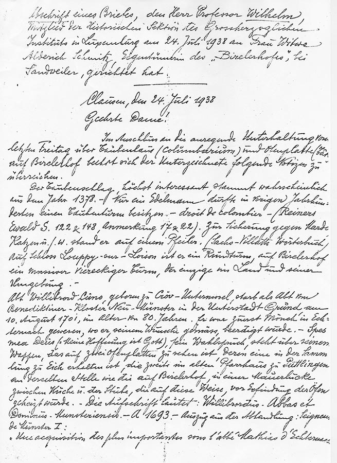 Lettre du / Brief von Prof. Wilhelm à / an Hedwig Schmitz-Fürstenberg, 1938 © Prof. Wilhelm