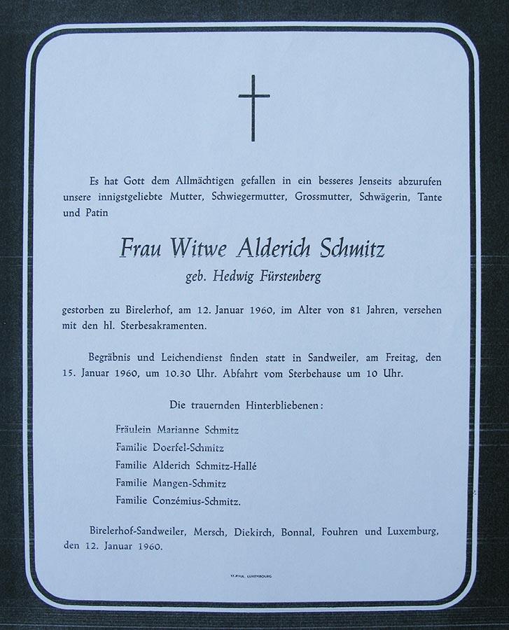 Avis de décès: / Totenbildchen: Hedwig Fürstenberg, 12.1.1960 © St. Paul Luxembourg
