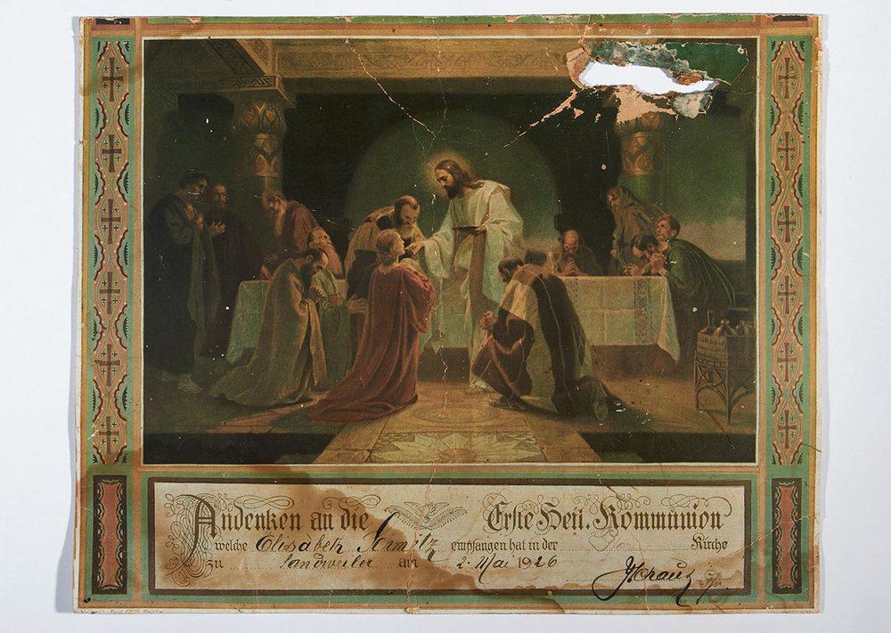 Souvenir Première Communion de / Erinnerung zur Ersten Kommunion von Elisabeth Schmitz, 1926 © auteur inconnu, droits réservés