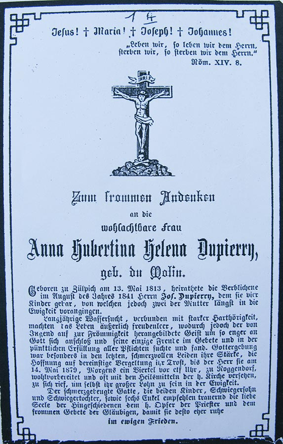 Avis de décès: / Totenbildchen: Anna Hubertina Helena Dupierry, 14.5.1879 © auteur inconnu, droits réservés
