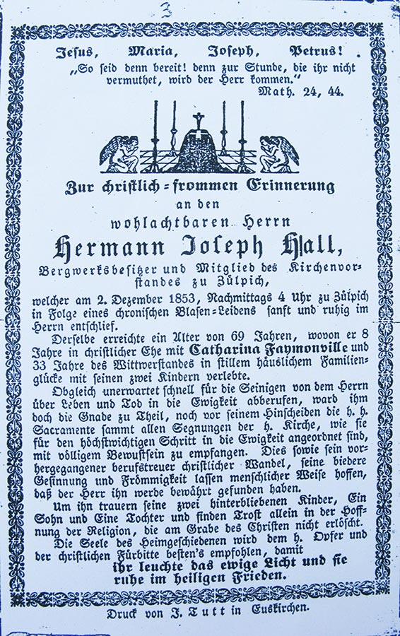 Avis de décès: / Totenbildchen:  Hermann Joseph Hall, 2.12.1853 © F. Tutt, Euskirchen