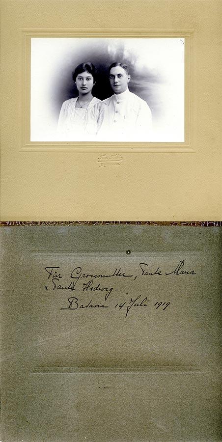 Mariage de / Hochzeit von Maria Anna (Marietje) Schmitz du Moulin et / und Friedrich Bromberg, Batavia, Indonésie © F. v. Felden, Weltevreden, 1919