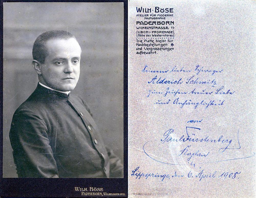 Dédicasse de / Widmung von Paul Fürstenberg à / an Alderich Schmitz, 1908 © Wilhelm Böse