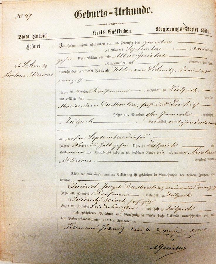 Acte de naissance de / Geburtsurkunde von Alderich Schmitz, Archives de la Ville de Zülpich / Stadtarchiv Zülpich, (D)