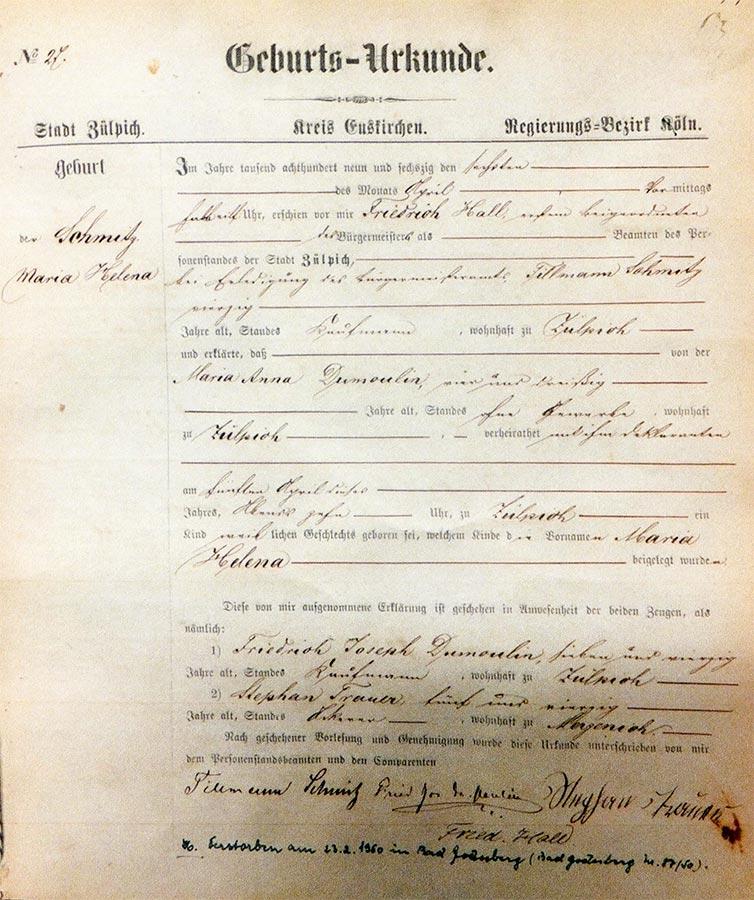 Acte de naissance de / Geburtsurkunde von Helene Schmitz, Archives de la Ville de Zülpich / Stadtarchiv Zülpich, (D)