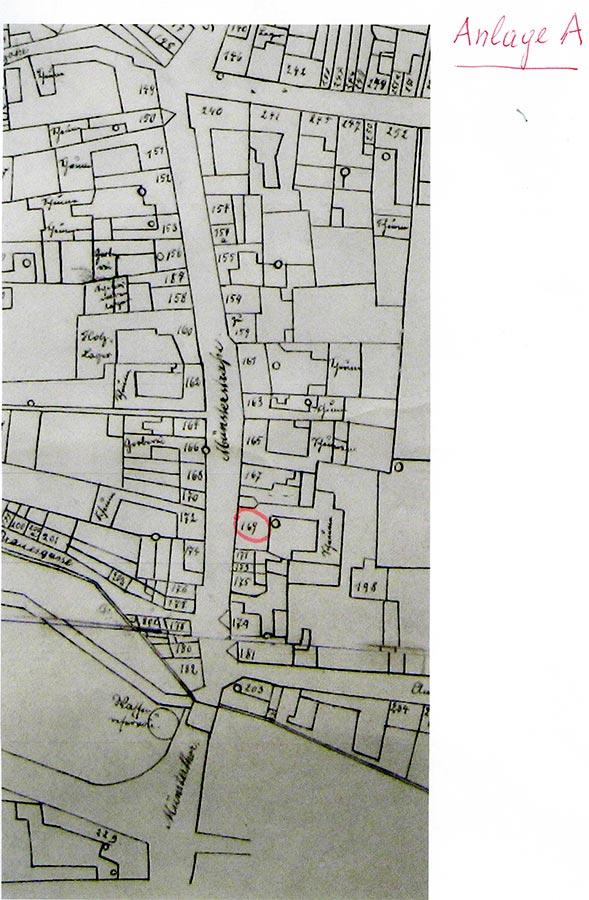 Plan cadastrale de la Münsterstrasse à Zülpich. Famille Schmitz y habitait jusqu'en 1900 au nr. 169 / Kadasterplan der Münsterstrasse in Zülpich. Familie Schmitz wohnte bis 1900 auf Nr. 169, Archives de la Ville de Zülpich / Stadtarchiv Zülpich, (D)