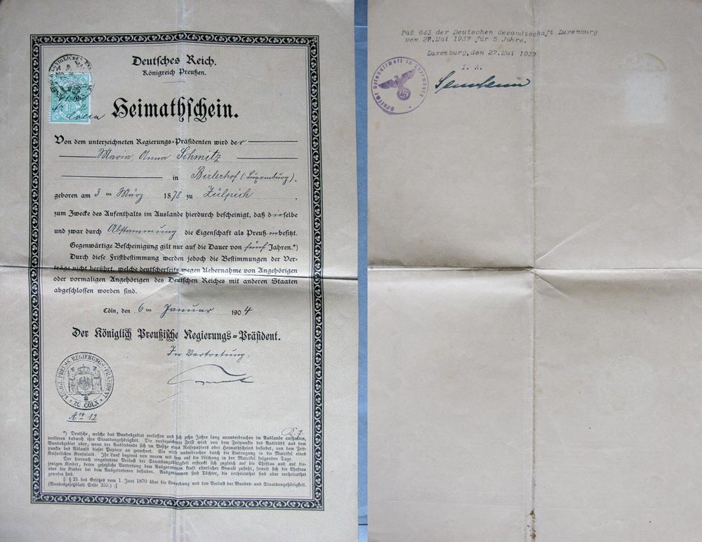 Certificat de séjour de / Heimatschein von Maria Schmitz, 1904, 1937