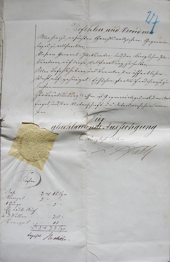 Contrat de mariage entre Tillmann Schmitz et Maria Anna du Moulin / Ehevertrag zwischen Tillmann Schmitz und Maria Anna du Moulin, 1858