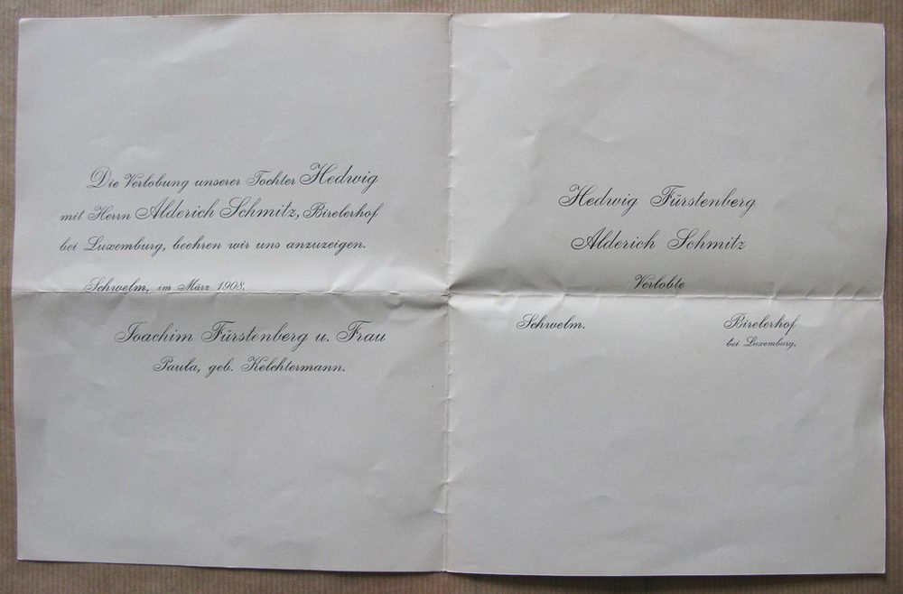 Invitation aux finançailles de / Einladung zur Verlobung von Hedwig Fürstenberg et / und Alderich Schmitz, mars / März, 1908
