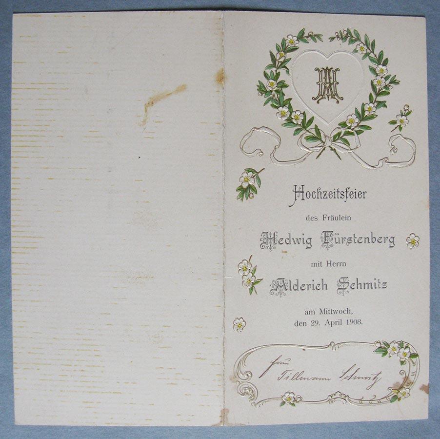 Menu de mariage de / Hochzeitsmenu von Hedwig Fürstenberg et / und Alderich Schmitz, Schwelm, 1908