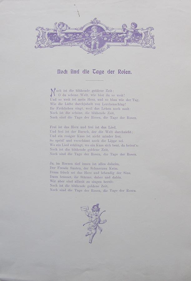 Poêmes assemblés pour la fête de mariage de / Gedichte zusammengetragen für die Hochzeitsfeier von Hedwig Fürstenberg et / und Alderich Schmitz, Schwelm, 1908 © M. Scherz, Schwelm
