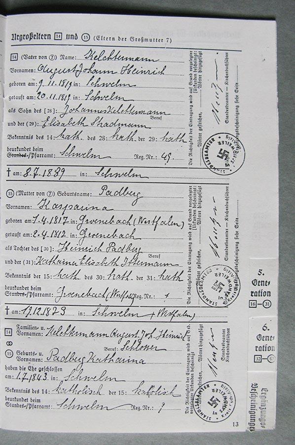 Passeport généalogique de Gertrud Elisabth Schmitz / Ahnenpass von Gertrud Elisabth Schmitz