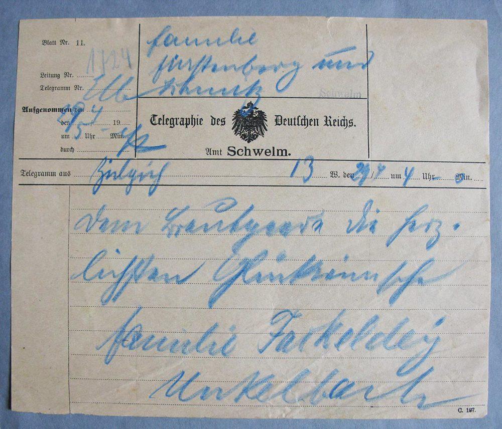 Télégramme pour mariage de / Telegramm zur Hochzeit von Hedwig Fürstenberg et / und Alderich Schmitz