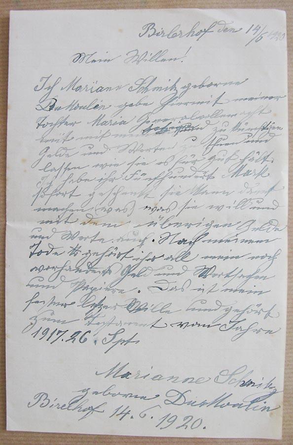 Testament de / von Maria Anna du Moulin, 1920 © Maria Anna du Moulin