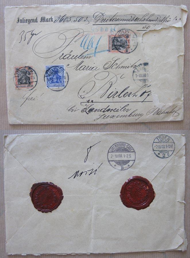 Enveloppe de la Volksbank Zülpich avec sceaux contenant 3605,50 DM et adressée à / besiegelter Briefumschlag der Volksbank Zülpich mit 3605,50 DM an Maria Schmitz, 1908